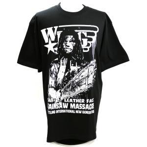 Tシャツ W★ing レザーフェイス ブラック|bdrop