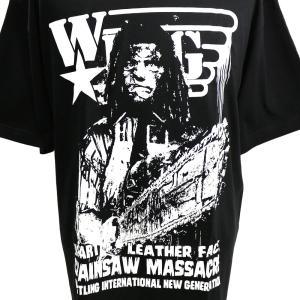 Tシャツ W★ing レザーフェイス ブラック bdrop 02