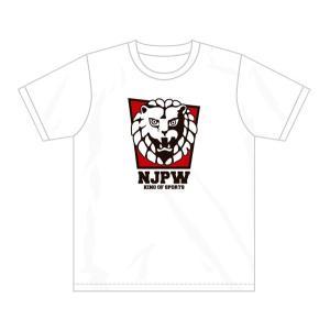 新日本プロレス NJPW ライオンマーク Tシャツ(レッドスクエア) bdrop