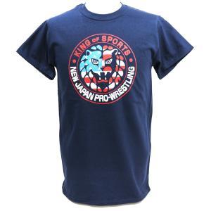 Tシャツ XXLサイズ/US版:新日本プロレス NJPW ライオンマーク USA ネイビー|bdrop