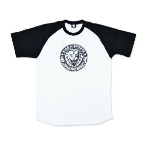 Tシャツ 新日本プロレス NJPW ライオンマーク ラグランTシャツ(ホワイト×ブラック)|bdrop