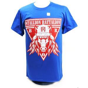 Tシャツ XXLサイズ:WWE Matt Riddle(マット・リドル) Stallion Battalion ブルーTシャツ|bdrop