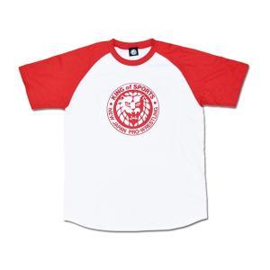 Tシャツ XXLサイズ:新日本プロレス NJPW ライオンマーク クラシック ラグランTシャツ(レッド)|bdrop
