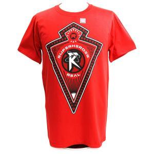 Tシャツ WWE Ricochet(リコシェ) Superheroes R Real ダークレッド|bdrop