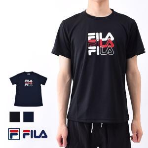 Tシャツ メンズ 半袖 ランニング ウェア FILA フィラ クルーネック 速乾 スポーツウェア ヨガ ウェア 体型カバー ロゴTシャツ 410313 M/L/LL ネコポス発送|beach-angel