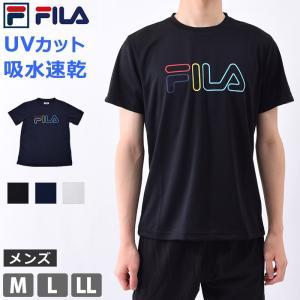 Tシャツ メンズ ランニング ウェア 半袖 FILA フィラ クルーネック 速乾 スポーツウェア UVカット 体型カバー ロゴTシャツ 410314 M/L/LL ネコポス送料無料|beach-angel