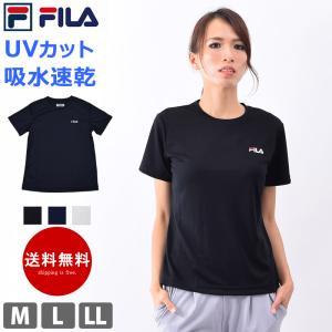 Tシャツ レディース UVカット 半袖 FILA フィラ ランニング ウェア 速乾 スポーツウェア ヨガ 体型カバー ロゴTシャツ 410680 M/L/LL ゆうパケット送料無料 beach-angel