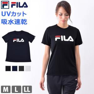 Tシャツ 半袖 レディース UVカット FILA フィラ ランニング ウェア 速乾 ヨガ 体型カバー ロゴTシャツ 419639 M/L/LL ネコポス発送|beach-angel