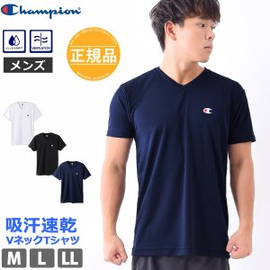 Tシャツ メンズ 吸汗速乾 Vネック ランニングウェア 体型カバー インナーシャツ Champion チャンピオン CM1HM302 【ゆうパケット発送】|beach-angel