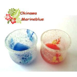 沖縄伝統の琉球ガラスから、出来ています。2個セット 約縦5.5cm 横5cm
