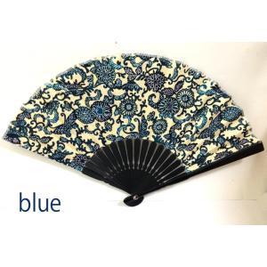 紅型 せんす BINYA  ブルー BLUE  布の扇(おうぎ)扇子   新作 全国送料無料|beachstylemarineblue