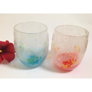 琉球2個グラスセット楕円型  泡 オレンジ ライトブルー 琉球ガラス お届け日指定可能商品 ギフト 全国送料無料|beachstylemarineblue
