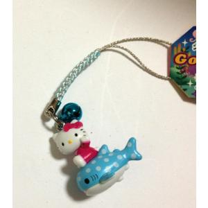 ハローキティーの沖縄限定のジンベエザメに乗ったキティー,ストラップ,hello kitty,送料無料|beachstylemarineblue