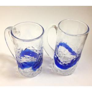琉球グラスセット でこぼこ スリムジョッキ 2個セット, 色、青(マリンブルー) お土産 沖縄伝統工芸  |beachstylemarineblue