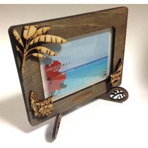 沖縄フレーム 木彫り,ペアーシーサー写真立て,ヤシの木, 沖縄雑貨  WOODフレーム 新作 beachstylemarineblue