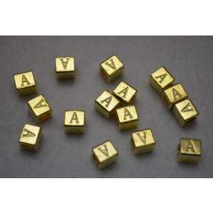 ロンデル キューブ型 アルファベット 「A」 金 7mm 1...