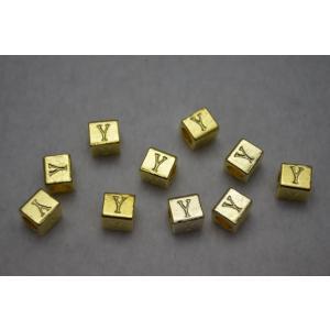 アクセサリーパーツ ロンデル キューブ型 アルファベット 「...