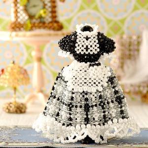ビーズキット ビーズ キット カフェ ドレス 洋服 制服 【ミニチュアドレスキット】Angelina(ブラック)|beadsmania-shop