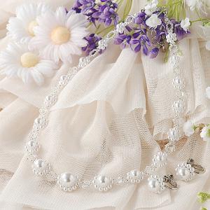ビーズキット アクセサリー Laciq Beads デイジーパールネック&イヤリング(ホワイト)|beadsmania-shop