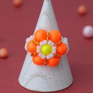 ビーズ キット スワロフスキーエレメント ホビックス ネオンフラワーリング(オレンジ)|beadsmania-shop