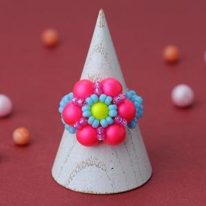 ビーズ キット スワロフスキーエレメント ホビックス ネオンフラワーリング(ピンク)|beadsmania-shop