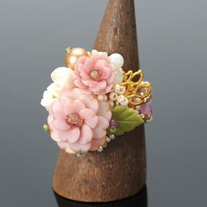 ビーズ キット レシピ お花たっぷり 八重桜リング|beadsmania-shop