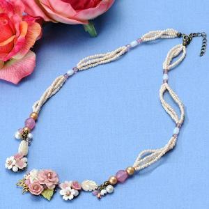 ビーズ キット レシピ 八重桜のプリンセスネックレス|beadsmania-shop