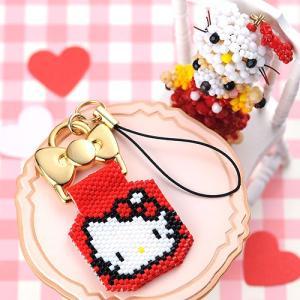 ビーズ キット キーホルダー ハローキティ・ステッチストラップ〜RED〜 ビーズマニア|beadsmania-shop