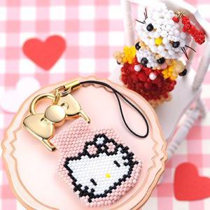 ビーズ キット キーホルダー ハローキティ・ステッチストラップ〜PINK〜   ビーズマニア|beadsmania-shop