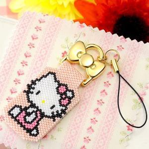 バッグチャーム 可愛い ハローキティ・ステッチストラップ〜ポーズ・PINK〜  ビーズマニア beadsmania-shop