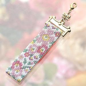 ビーズ キット レシピ Flower Gardenストラップ(ピンク)|beadsmania-shop
