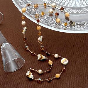 ビーズキット レシピ Sweet Garden Long Necklace(ブラウン)|beadsmania-shop