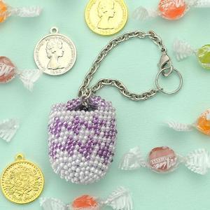 ビーズ キット がまぐち TOHO ビーズクロッシェでつくる小さながまぐち&ポーチ≪パープル≫|beadsmania-shop