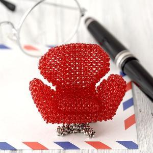 ビーズキット/デザイナーズ/ ビーズファクトリー ミニチュア・ビーズチェアキット(スワンチェア・赤)|beadsmania-shop