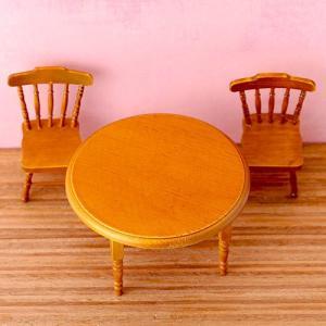 ミニチュア ディスプレイ 【House of dwarf】テーブルチェアセット(ブラウン)|beadsmania-shop