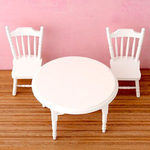 ミニチュア ディスプレイ 【House of dwarf】テーブルチェアセット(ホワイト)|beadsmania-shop