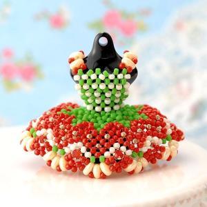 ビーズ キット レシピ 【ミニチュアドレスチャームキット】strawberry|beadsmania-shop