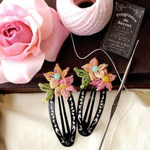 ビーズ キット レシピ お花ヘアピン ピンク  p18600|beadsmania-shop