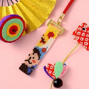 ビーズ キット 干支 ホビックス ビーズステッチで作る「天晴れおサルと富士山根付け」|beadsmania-shop