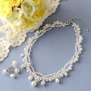 ビーズキット アクセサリー Laciq Beads ホワイトマーメイドのネックレス&イヤリング|beadsmania-shop