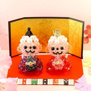 手作りキット 手芸 ビーズキット ハンドメイド 手芸 キット ひな祭り特集 アクリルビーズで作る京・白いおサルのおひなさま|beadsmania-shop