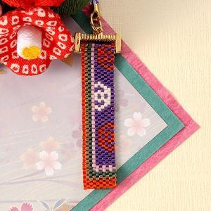 手作りキット 手芸 ビーズキット ハンドメイド 手芸 キット ホビックス 西陣・十二単柄根付け −杜若-|beadsmania-shop