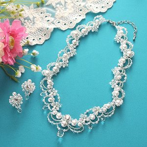 ビーズ キット アクセサリー Laciq Beads シャンデリアフラワーのネックレス&イヤリング beadsmania-shop