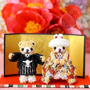 ビーズ キット 結婚式 テディベアシリーズ〜和装ウエディングベアセット〜  ビーズマニア beadsmania-shop