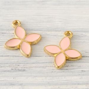 ハンドメイド アクセサリー ラティーフ フラワーチャーム (花びら4枚 ピンク) 2個入り|beadsmania-shop