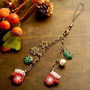 ビーズ キット ハンドメイド ミトンのバッグチャーム&ストラップ・赤|beadsmania-shop