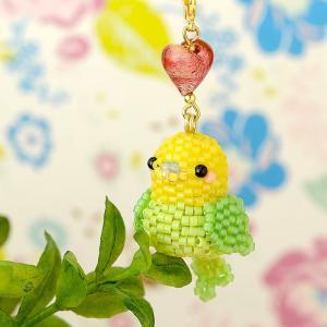 ビーズキット レシピ Happy☆Birdストラップ (イエロー&グリーン)|beadsmania-shop