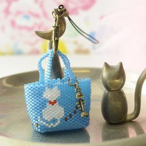 ビーズ キット レシピ ミニトート・白猫|beadsmania-shop