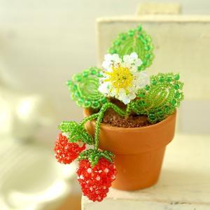 ビーズキット レシピ いちごの鉢植え|beadsmania-shop