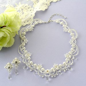 ビーズキット アクセサリー Laciq Beads クリスタルヴェールのネックレス&イヤリング|beadsmania-shop